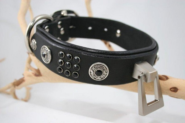 Black Leather Dog Cerberus Collar
